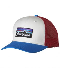 P-6 Logo Trucker Hat (White w/ Andes Blue)